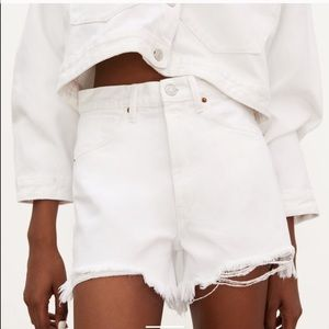NWT Zara Distressed White Shorts